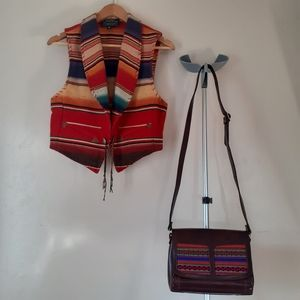 Navajo Tribal 💯%Leather Crossbody Saddle Bag Boho